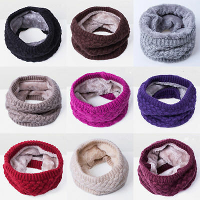 Women Men Baby Warm Infinity Cable Knitted Neck Cowl Collar Velvet Scarf Shawl