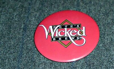 Rare Petes Wicked Brews, Petes Wicked Ale Vintage Pinback Button