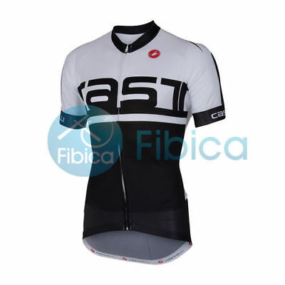 New Castelli Cycling Meta Jersey FZ Full Zip Men's White Black M-XXXL