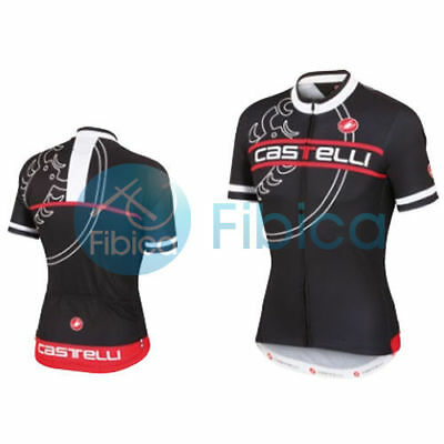 New Castelli Cycling Segno Jersey FZ Full Zip Men's Black M-L