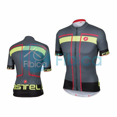 New Castelli Cycling Velocissimo Jersey FZ Full Zip Men's Grey M-XL