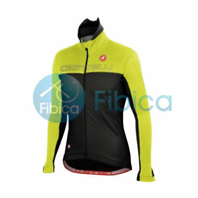 New Castelli Cycling Winter Poggio Jacket Long Sleeve Men's Yellow Black L-XL