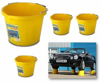 4 x INVINCIBLE HEAVY DUTY STRONG LARGE YELLOW BUILDERS BUCKET WATER MIXING TUB