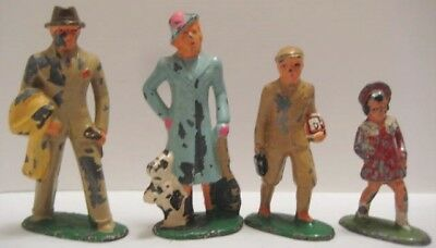 Lot of 4 Antique Metal Toy Figures Family Group Mom Dad Boy Girl Barclay 1930s