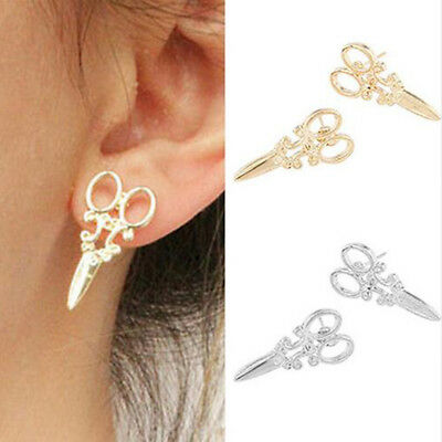 1 Pair Womens Mens Punk Goth Stainless Steel Whole Scissor Earrings Retro Cool