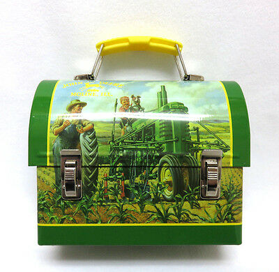 Miniature JOHN DEERE Lithograph Tin Metal Dome Lunch Pail Box Souvenir Excellent