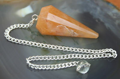 "Yellow Calcite Vogel Type Crystal Pendulum on 7"" Silver Plated Chain, Reiki"