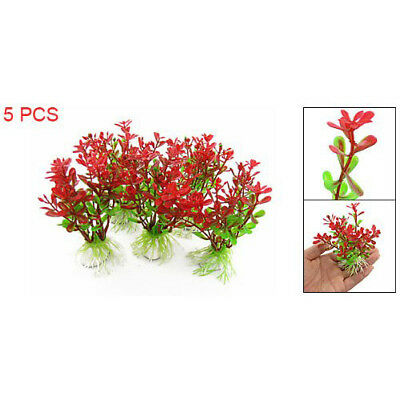 5Pcs Red Green Plastic Plant Decor & Ceramic Base For Fish Tank Aquarium R8M7