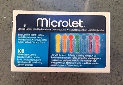 Bayer Contour Ascensia Microlet Lancets Box of 100 **BRAND NEW & SEALED**
