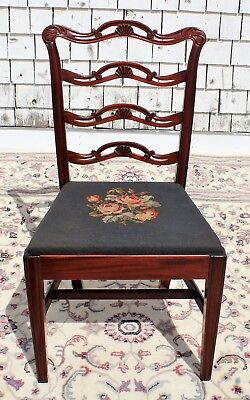 Mahogany Ribbon Back Chair with Blue/Pink Floral Needlepoint