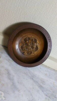 Carved? Wooden Bowl Turned? Vintage 7 Inches Diameter