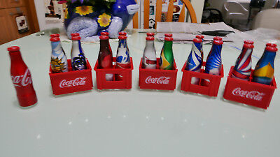 21 Coca-Cola aluminum mini bottles  2014 World Cup Brazil NEW with CRATES