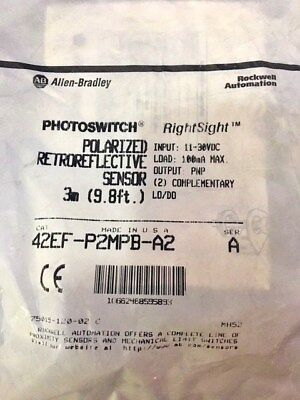 New Allen Bradley 42Ef-P2Mpb-A2, Series A, Photoswitch 3M (9.8Ft) Cable