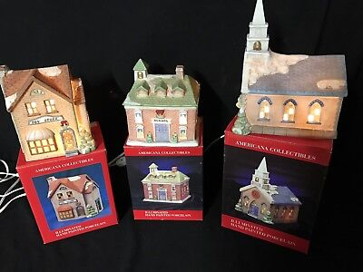 Lot of 3 Americana Porcelain Collectables Christmas village houses light up