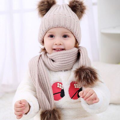 FT- Baby Boys Girls Knitting Woolen Yarn Winter Scarf Beanie Set Fur Balls Salab