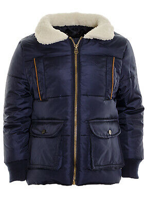 Boy's Sherpa Collar Quilted Puffer Parka Jacket Smart Coat Ages 5 6 7 8 9 10 11