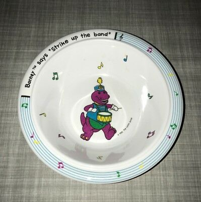 Vintage Barney The Dinosaur TV Show Cereal Bowl Strike Up The Band Cute Rare