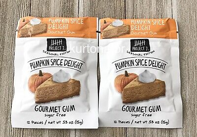 Project 7 PUMPKIN SPICE DELIGHT Gourmet Gum Lot of 2 Packs NEW Exp 06/2019