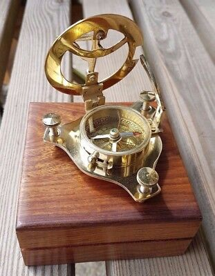 New Solid Brass Nautical Sundial Compass in Wooden Teak Box Steampunk Style