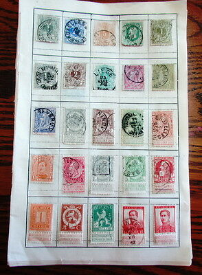 Vintage lot of 282 Belgium postage & railroad stamps hinged on sheets