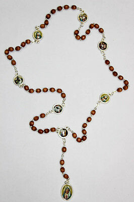 """Rosary Our Lady Of The Seven Sorrows Wood Beads Mater Dolorosa 19"""" + Gift Card"""