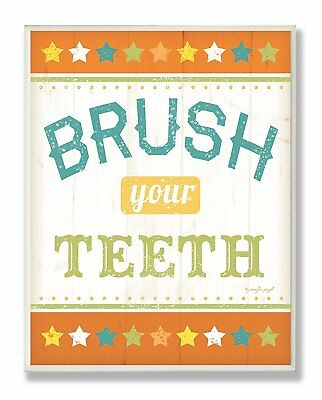 The Kids Room by Stupell Brush Your Teeth Orange Stars Rectangle Wall Plaque
