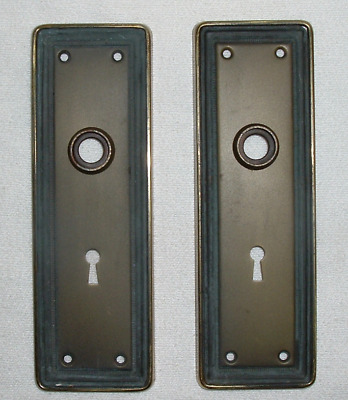 SET of 2 AntQ 1910-40s STEEL DOOR BACK PLATES SKELETON KEY HOLE Aged Brass +Grey