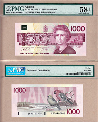 1988 $1000 Bank of Canada Bird Series Replacement Note; BC-61aA. PMG CH AU58EPQ+