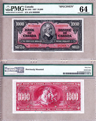1937 Bank of Canada Complete Specimen Set; 8 Notes $1-$1000; PMG CH UNC64
