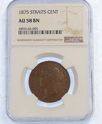 1875 Straits Settlements (Malaysia) Cent NGC AU 58 BROWN ~ POP 4 ONLY 4 Finer