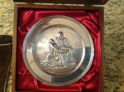 Danbury Mint PIETA by Michelangelo Solid Sterling Silver Plate Original Case MNT