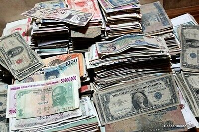 102 Fascinating World Banknotes Hoard of Old Foreign + 2 US Silver Certificates