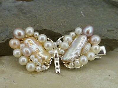 Hairclip (crocodile) in real freshwater pearls - a lovely hairclip for occasions