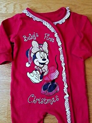 ae3d13adc DISNEY-BABY GIRLS-SIZE 3 Months-Minnie Mouse-First-1st Christmas ...