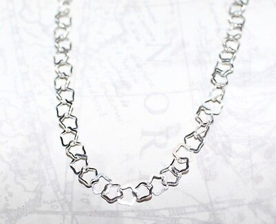 "925 Sterling Silver Fancy Unique Star Link Chain Necklace 18"" * Christmas Gift *"