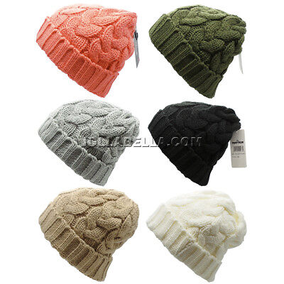 Beanie Ponytail Hole Hair Bun Tail Soft Stretch Cable Knit Winter Hat Ski Colors
