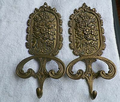One Antique Large Brass Italian Double Wall Hook