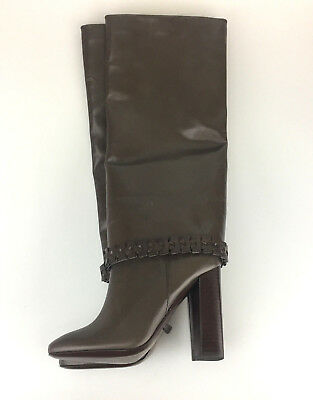 Tory Burch Sarava Tall Boots Stovepipe Braided Brown Leather 5.5 US Designer