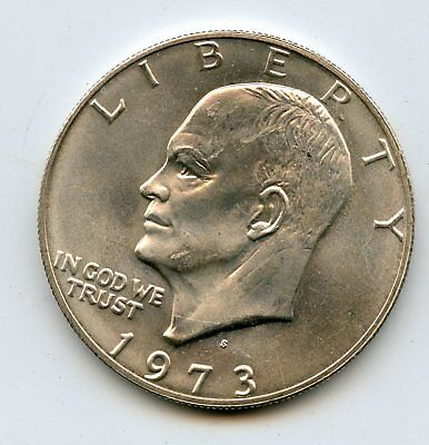 AUTHENTIC GOOD LUCK 1973 S 40% SILVER EISENHOWER DOLLAR CARD GUARD   *hucky*
