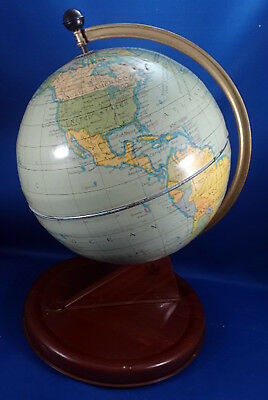 VTG WORLD GLOBE 1940's MADE IN ENGLAND TIN CHAD VALLEY