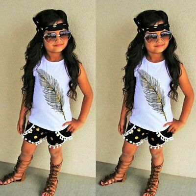Toddler Baby Girls Summer T-shirt Vest Tops+Shorts Kids Clothes Outfits 3PCS Set