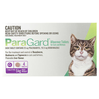 NEW Paragard Allwormer Tablets For Cats and Kittens 4 Pack