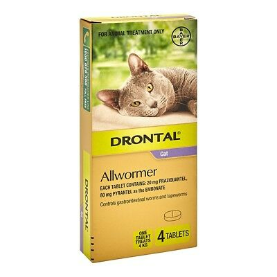 NEW Drontal Cat All Wormer 4kg 4Pk
