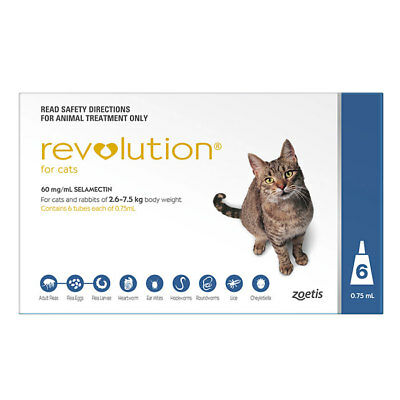 NEW Revolution Blue For Cats 2.6 - 7.5kg - 6pk