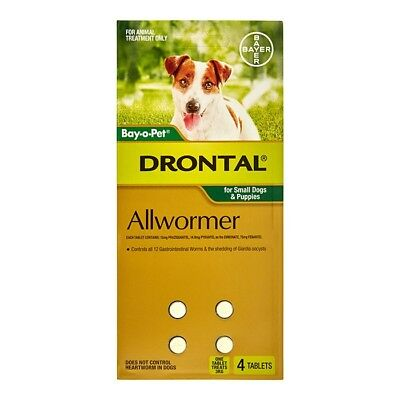 NEW Drontal All Wormer Tablets for Small Dogs & Puppies 4pk