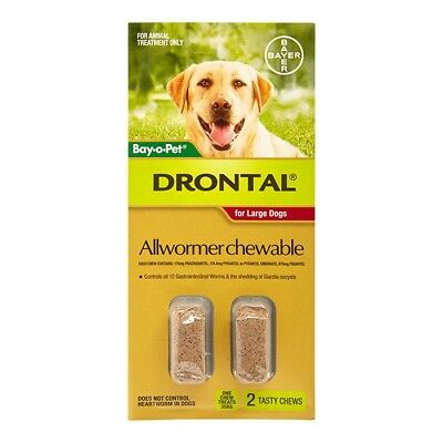 NEW Drontal All Wormer Chewable For Large Dogs 2pk