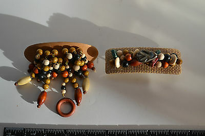 Large Vtg Hair Barrettes - Wooden With Beads