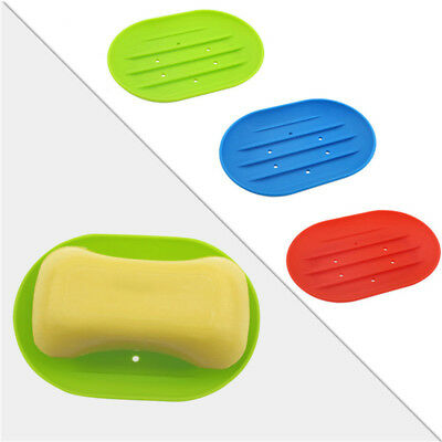 Silicone Soap Dish Water Bathroom Draining Soap Box Storage Holder Plate Saver