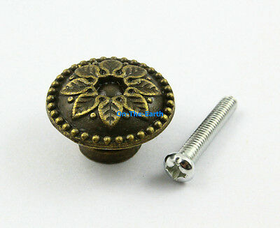 5 Pieces 24mm Antique Brass Dresser Handle Cabinet Cupboard Knob Drawer Pull