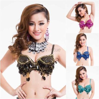 Charm Belly Dance Costume Top Bra Sequin Beads Bells Party Club Bralet Crop Tops